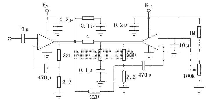 LM2002 Series 8W audio power amplifier circuit - schematic