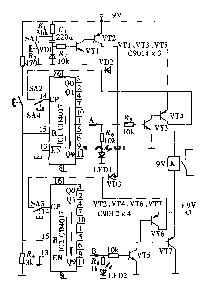 Secure lock circuit (CD4017) schematic - schematic