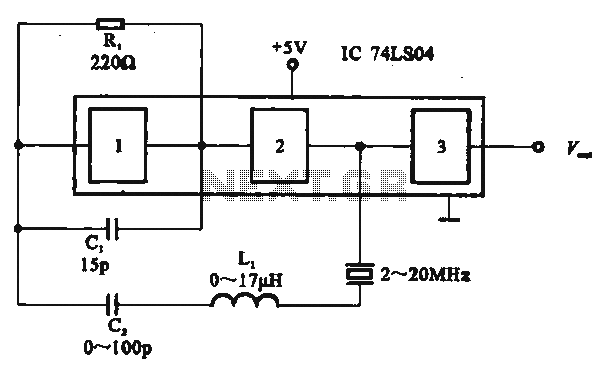 Several gates as a crystal oscillator circuit - schematic