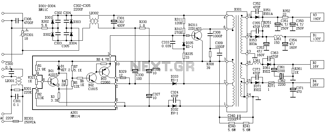 Sanyo 83P switching power supply circuit diagram - schematic