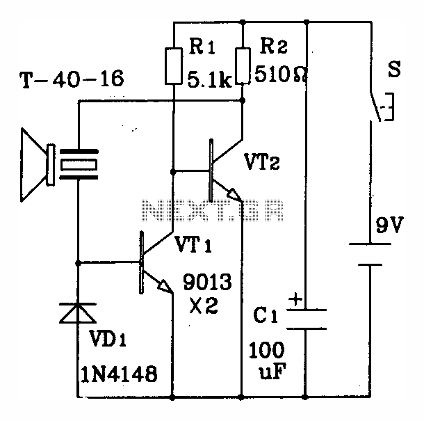Discrete circuit elements constituting the ultrasonic transmitter - schematic