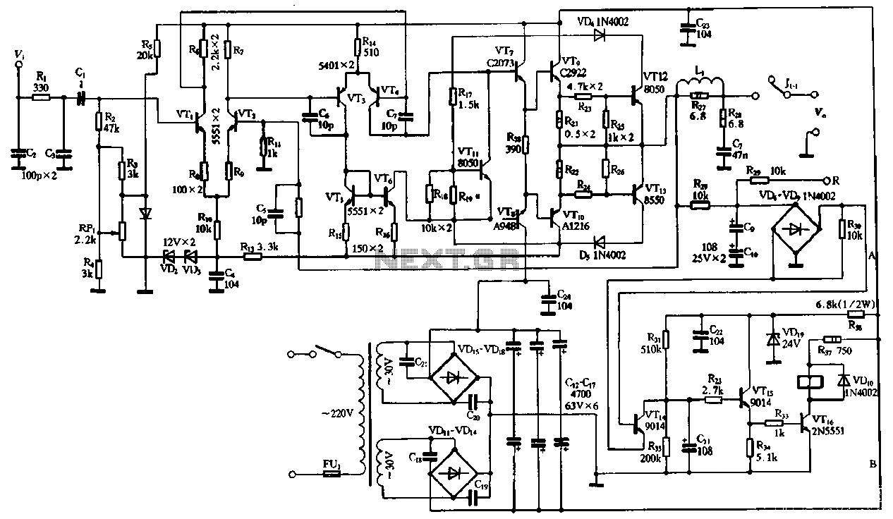 Audio Amplifier Circuit Page 4 Circuits Figure 1 Schematic For A Stereo Btl Classd Power 2sc2922 And 2sa1216 Or 2sc3264 2sa1295