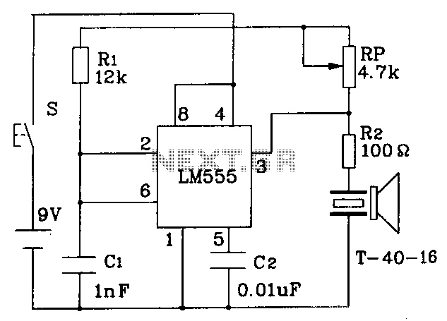 555 constitute an ultrasonic transmitter circuit diagram under ultrasonic circuits