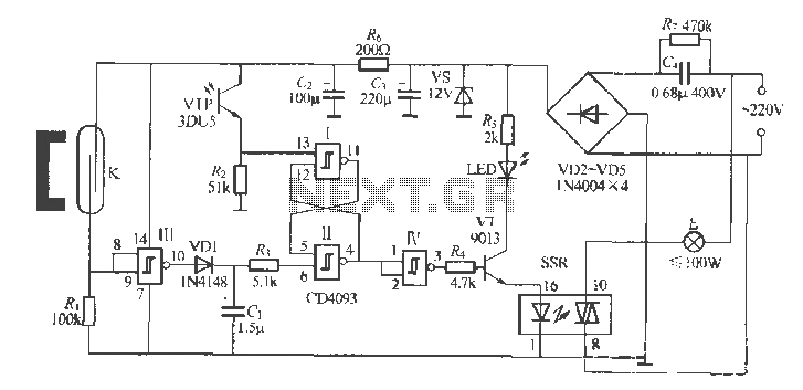 Gate automatic lamp circuit