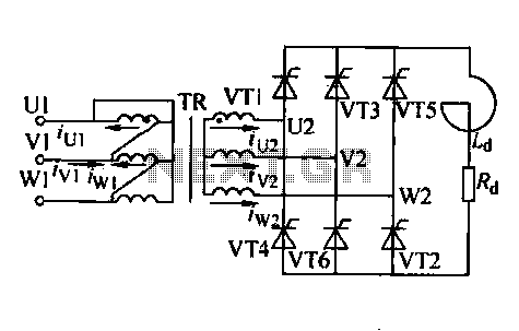 Three-phase controlled rectifier circuit