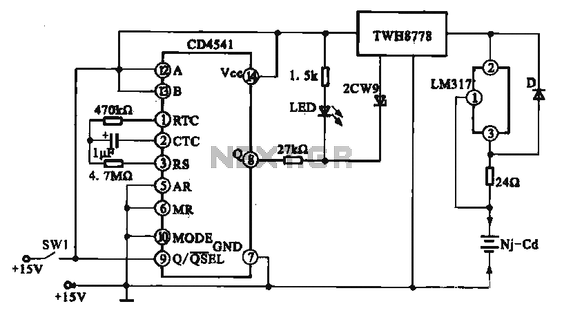 Constant current charging circuit long delay - schematic