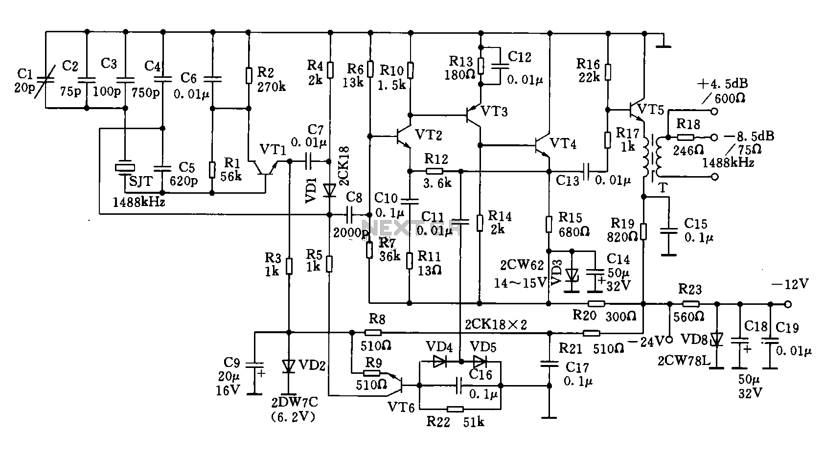 Popular Circuits Page 18 Integrated Circuit4558d Ic Circuitintegrated 1488khz Signal Generator And Frequency Divider Circuit