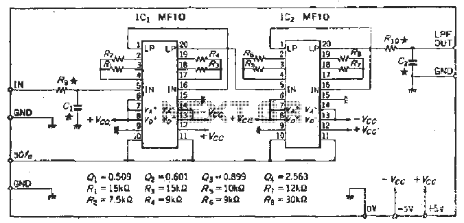 Cutoff frequency 48dB-octSCF low-pass filter circuit - schematic