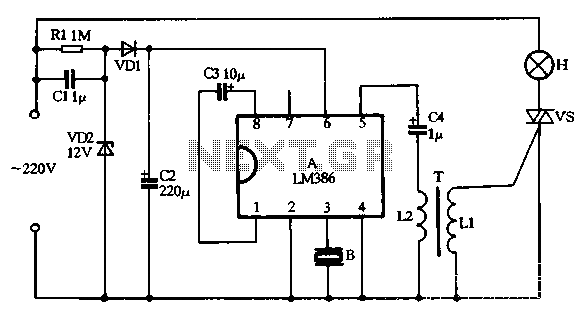 LM386 making music with a voice-activated lights circuit - schematic