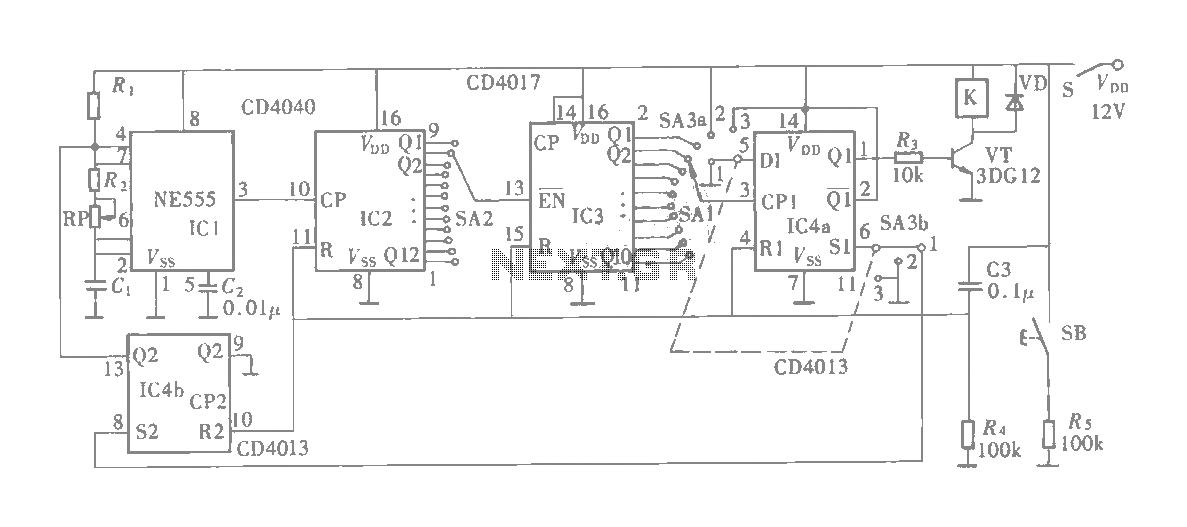 Multifunction adjustable universal time relay (NE555, CD4013) circuit - schematic