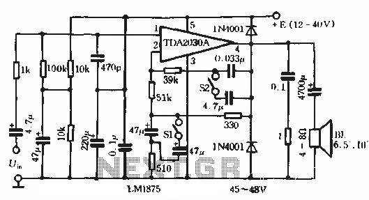 Bass Boost amplifier circuit with compensation - schematic