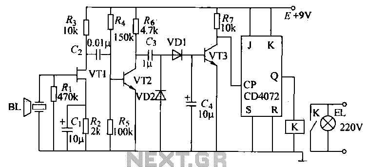 Ultrasonic remote control switch lighting circuit - schematic