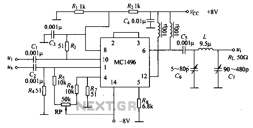 Mixing analog multiplier integrated circuit MC1496 under