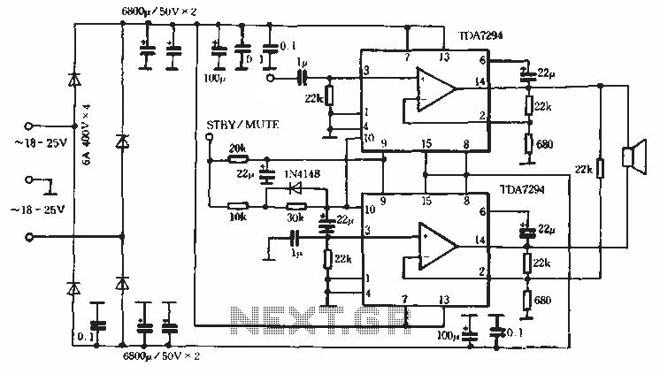 HI-FI integrated amplifier TDA7294-02 circuit - schematic