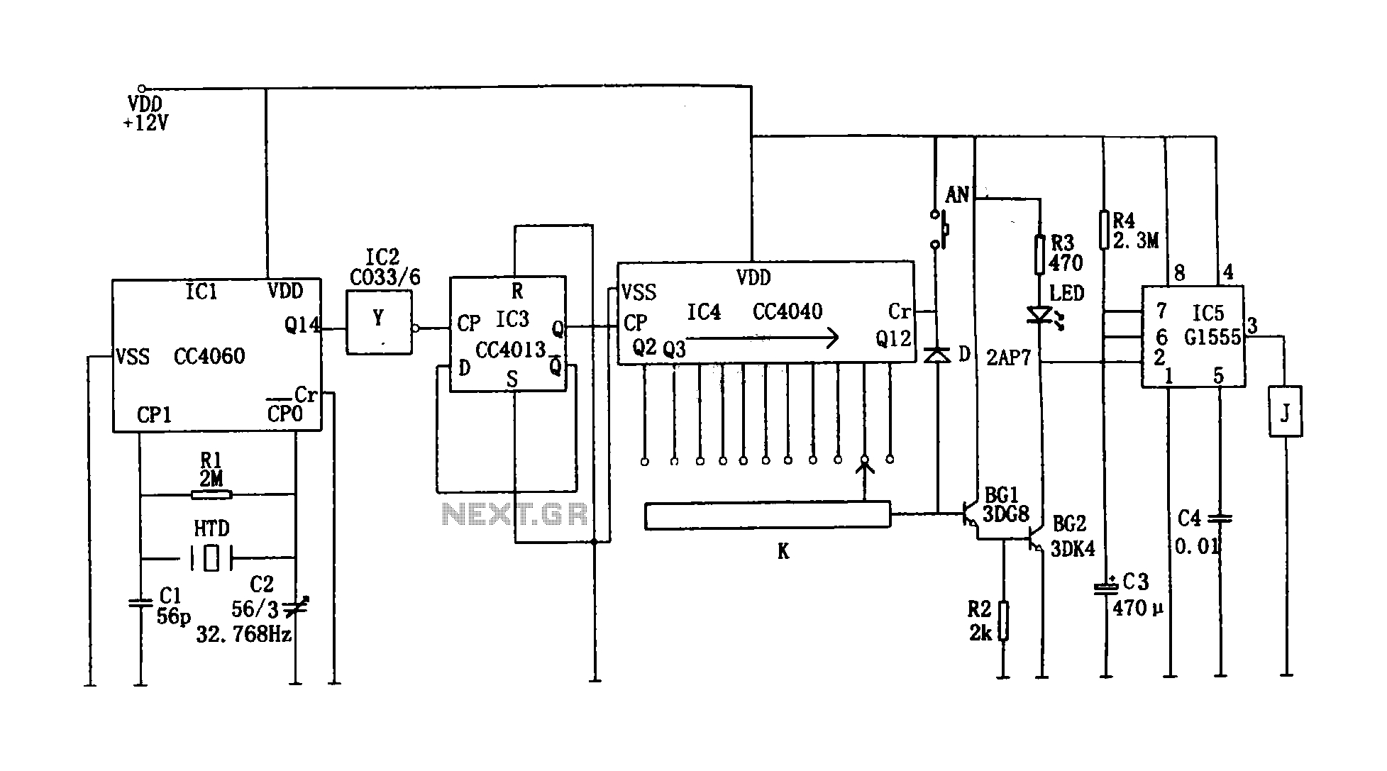 Precision digital timing controller circuit (CC4013, CC440, CC4060, G1555) - schematic