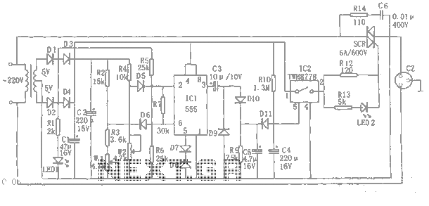 555 automatic power-protection circuit diagram - schematic