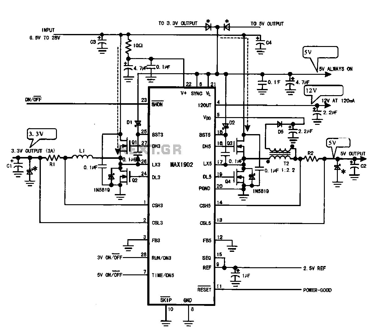 Multi-output power supply circuit (MAX1902) - schematic