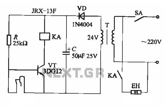 Bimetal thermostat control one circuit - schematic