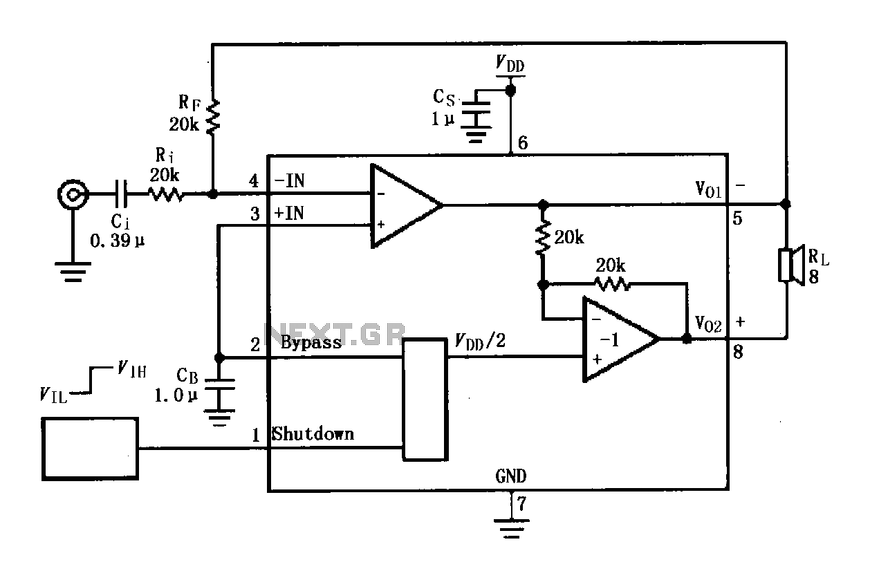LM4819 audio power amplifier circuit - schematic