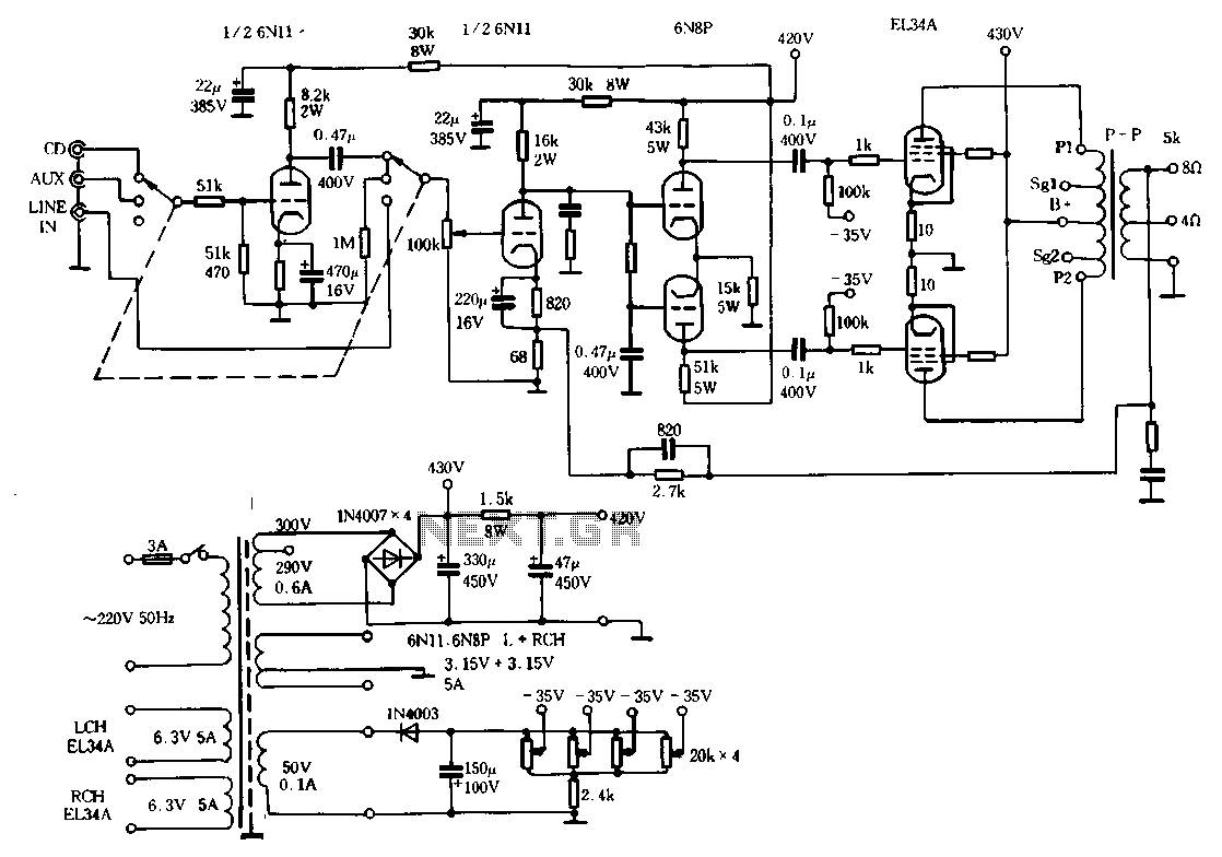 Rhyme M100 merger 10 watt tube amplifier circuit - schematic