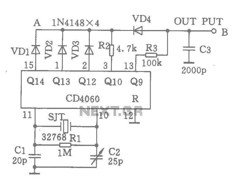 Cheap precision digital clock time base oscillation circuit - schematic