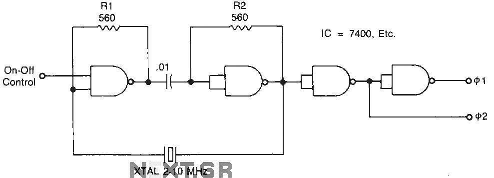 Crystal oscillator circuit diagram of a compatible IC - schematic