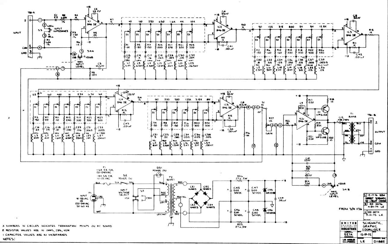 Graphic Equaliser 527 - schematic