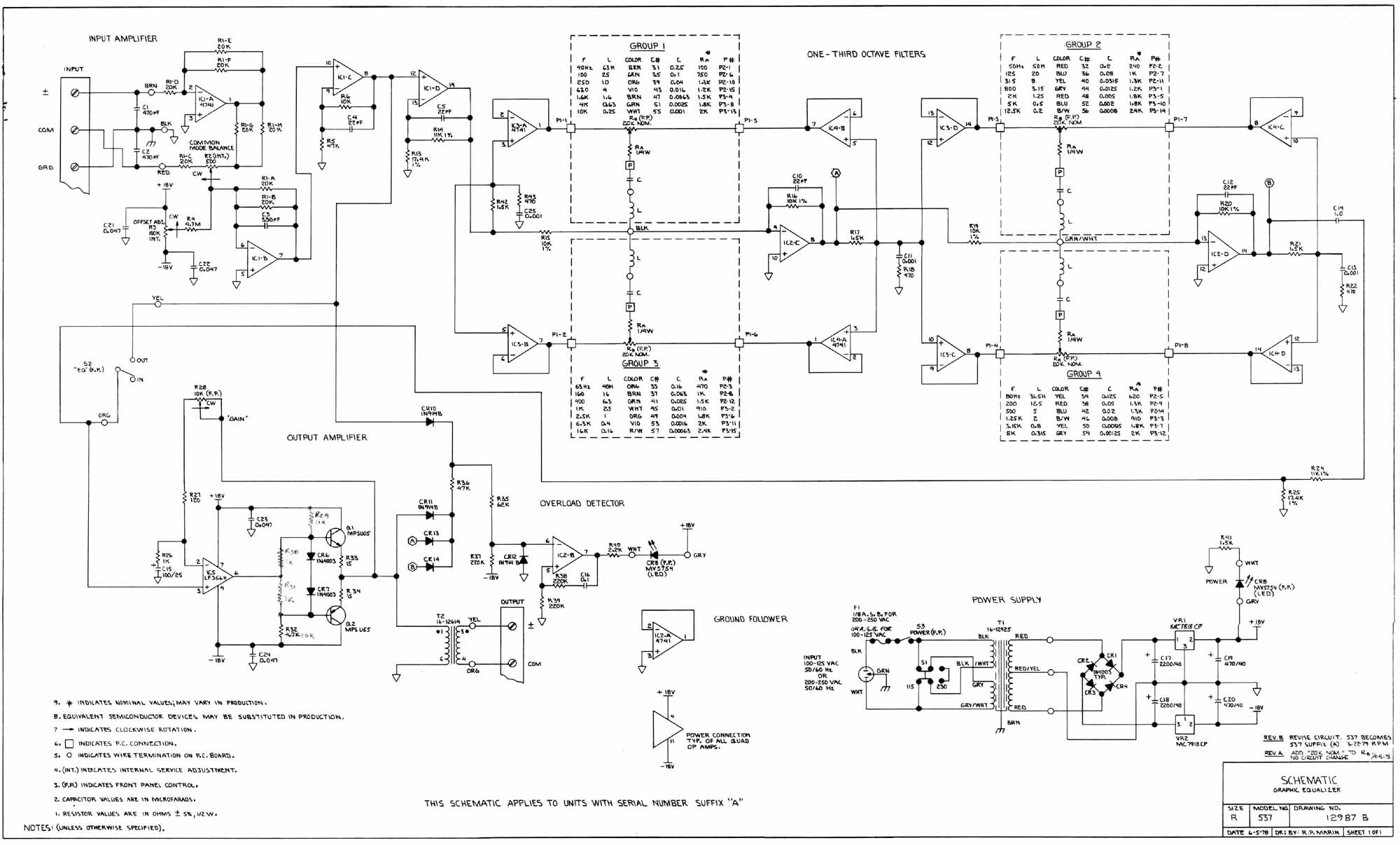 Graphic Equaliser 537 - schematic