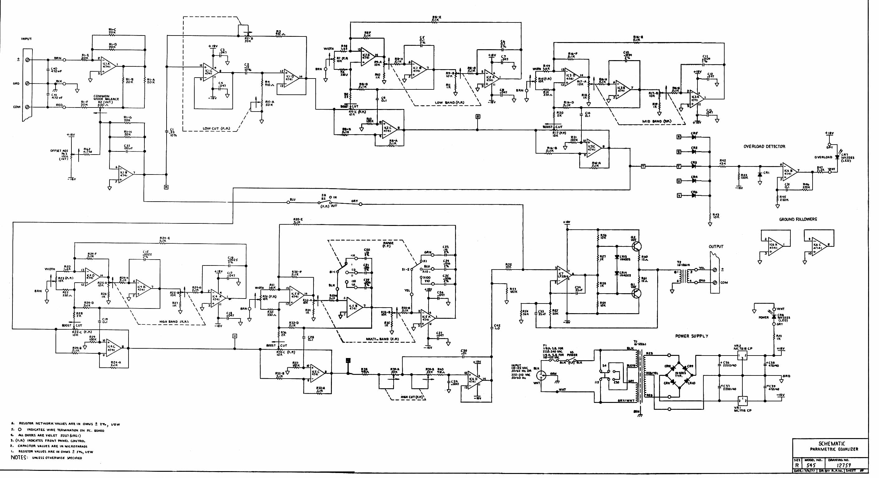 Graphic Equaliser 545 - schematic