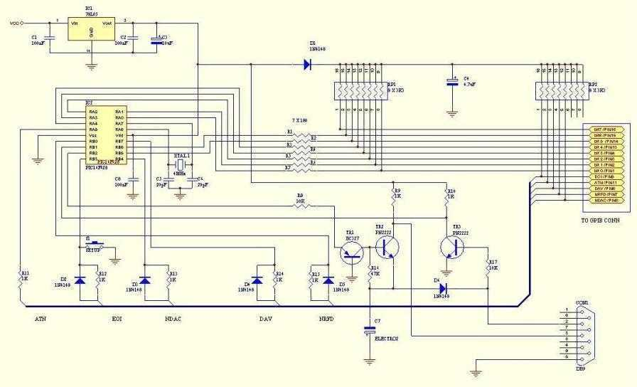 Pic-Plot : a GPIB to RS-232 converter - schematic