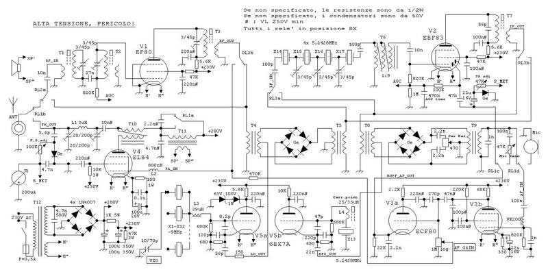 5 tubes QRP SSB Transceiver for 20m ham band - schematic