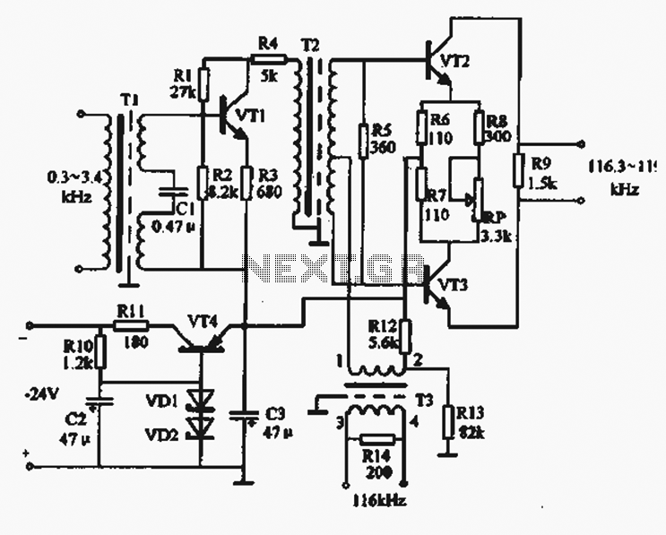 AM circuit using three transistors - schematic