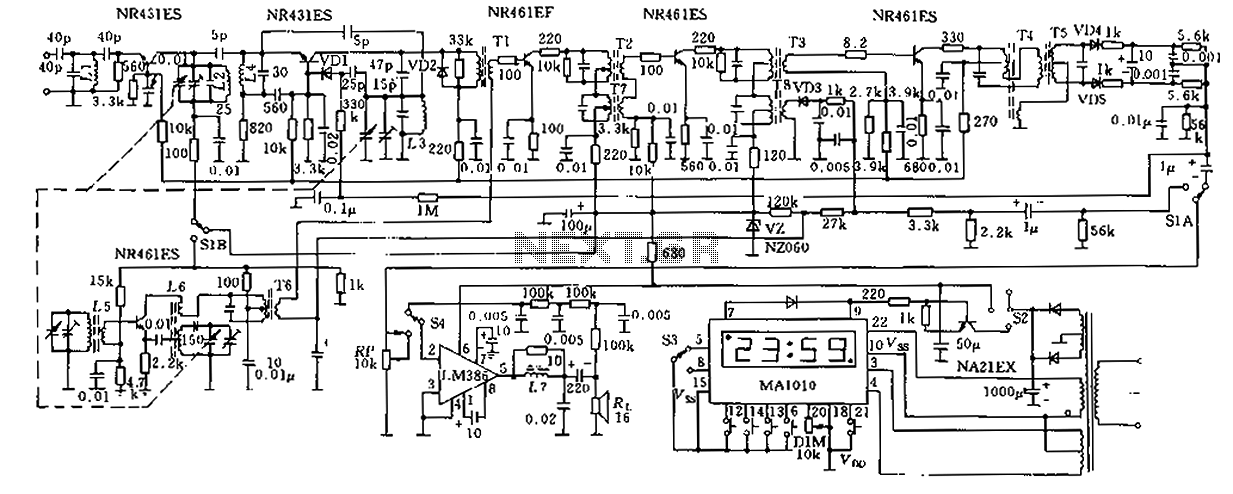 FM AM receiver circuit with a clock - schematic