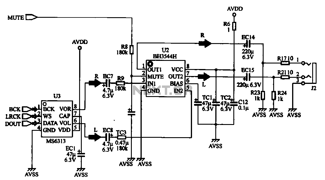 audio da converter and amplifier circuit