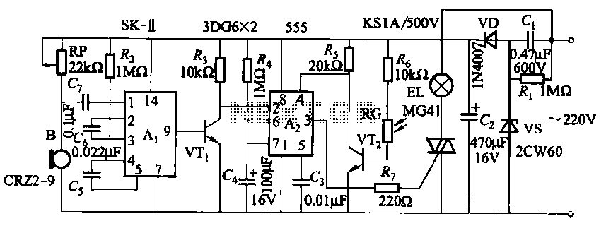 Three lighting sound and light control switch circuits - schematic