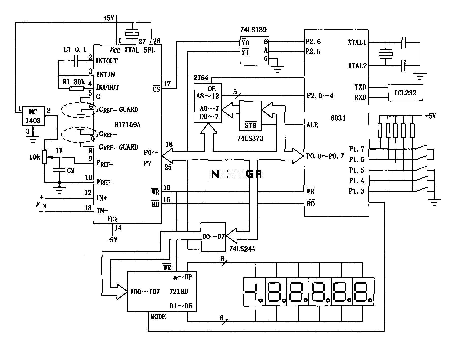Intelligent digital voltmeter circuit HI7159A and 8031 - schematic