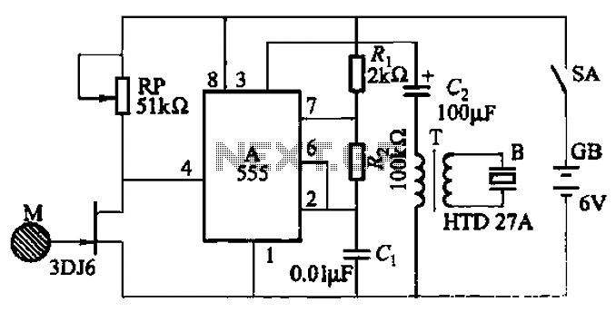 One of the high-pressure sensing alarm circuit - schematic