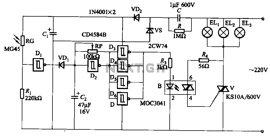 Three light control road construction warning light circuit - schematic