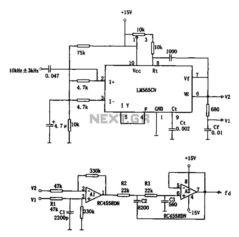 PLL FM demodulator LM565CN RC4558DN schematic - schematic