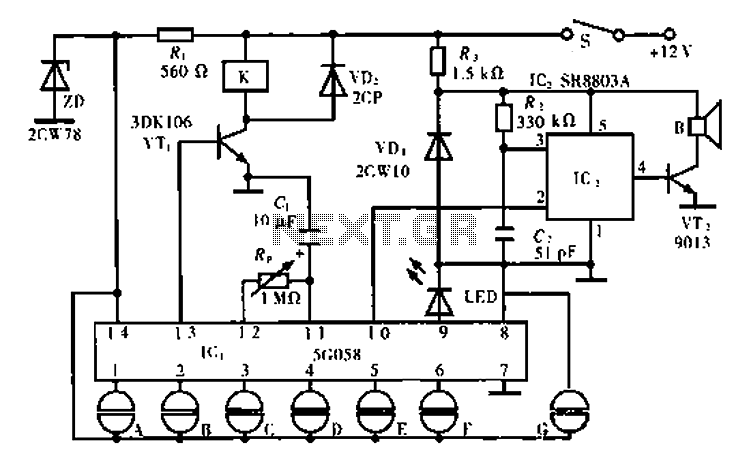 Motorcycle anti-theft lock electronic circuit - schematic