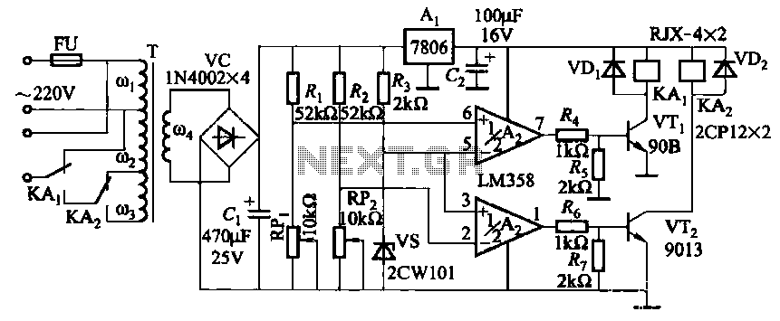 Relay control auto-transformer AC power supply circuit - schematic