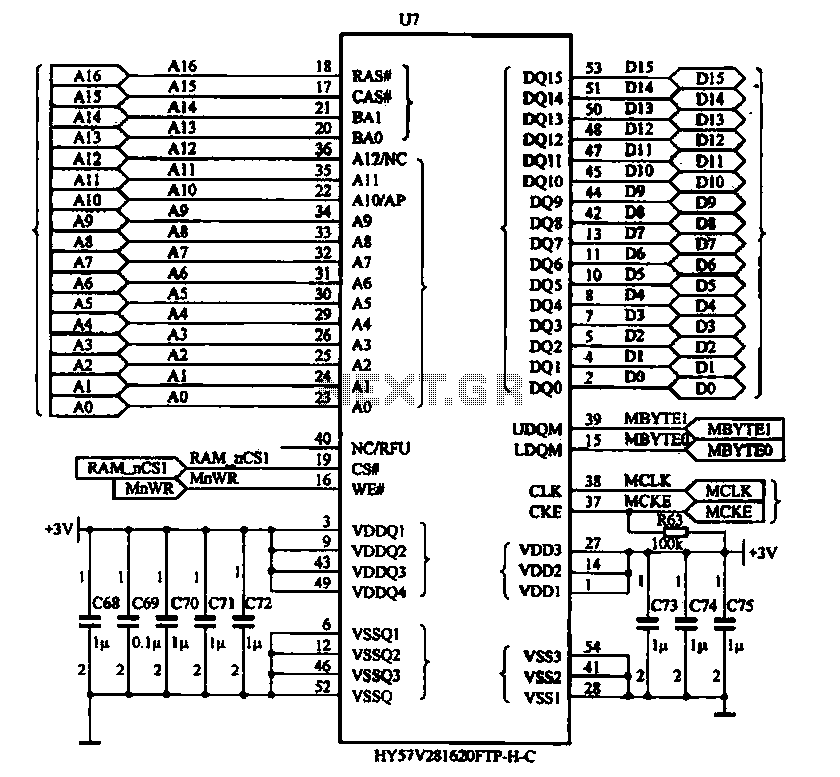 Circuit configuration of data memory - schematic