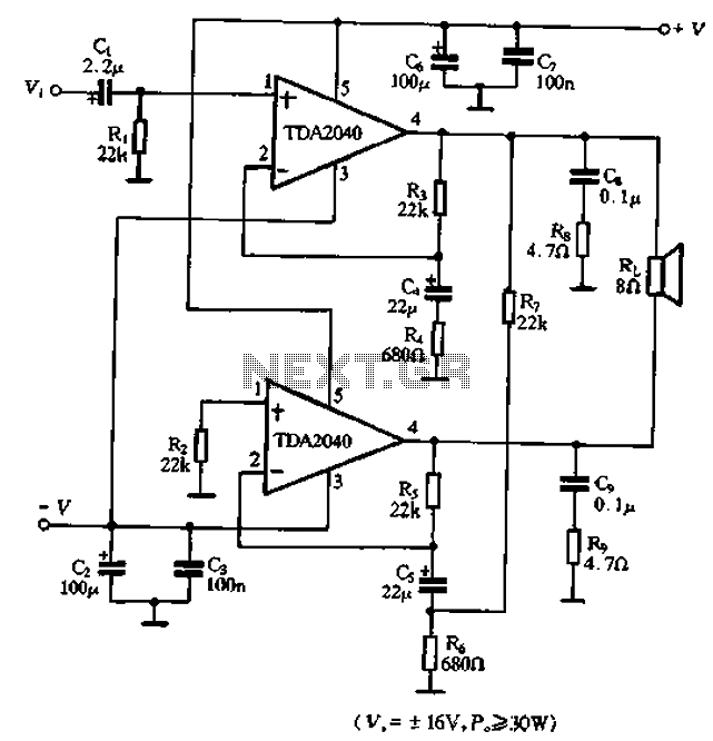 tda2040 application circuit dual power btl under other