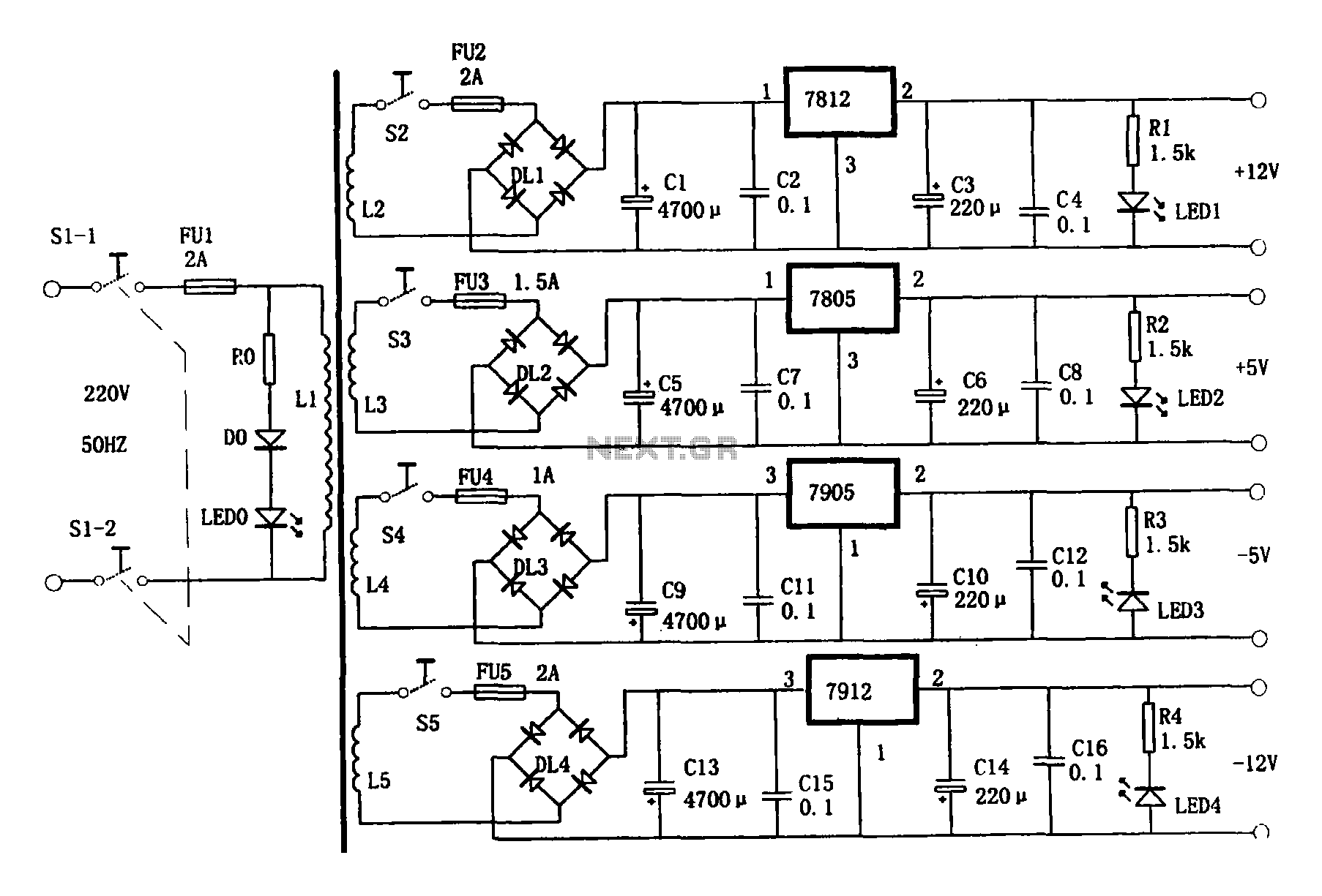 multi-output power supply circuit under ac-dc  u0026 dc-dc circuits