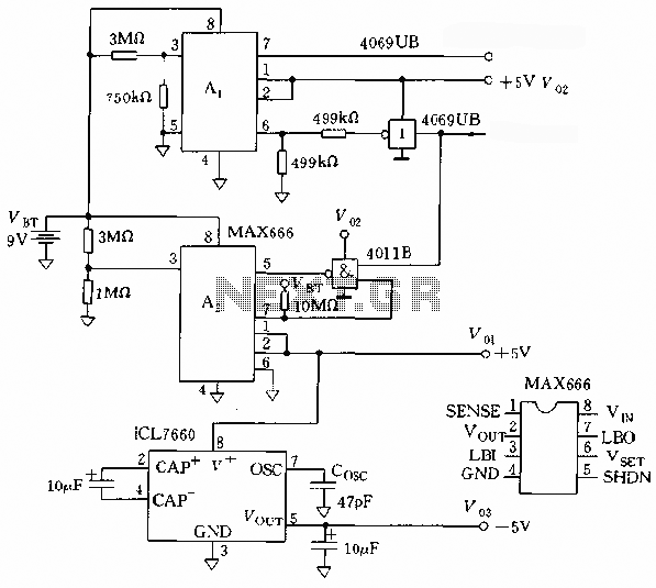 The microprocessor circuit using a power linear regulator  - schematic