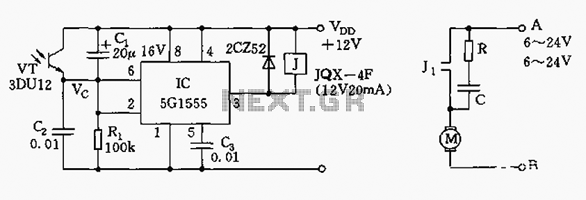 Automatic tracking solar controller circuit - schematic