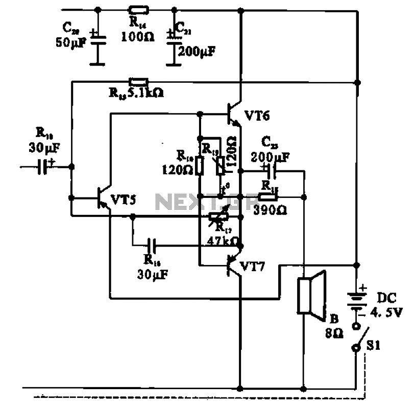 OTL transistor radio in a power amplifier circuit - schematic