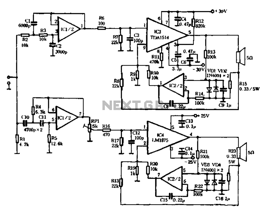 Current negative feedback electronic frequency power amplifier circuit - schematic
