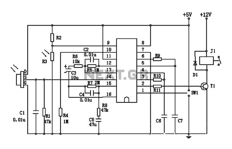 a circuit of a pyroelectric infrared switch application biss0001 under infrared circuits