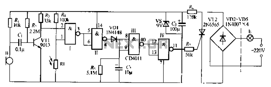 Digital sound and light control stairs delay switching circuit - schematic